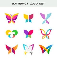 Butterfly colorful logo set vivid colors butterfly vector