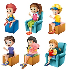 Kids sitting vector image vector image