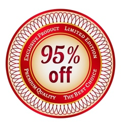 Label on 95 percent discount vector image vector image