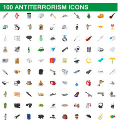 100 antiterrorism icons set cartoon style vector image