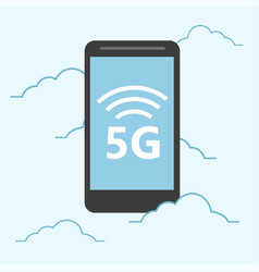 5g template with smartphone flying high speed vector
