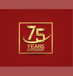 75 years anniversary with square and swoosh vector