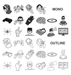A virtual reality monochrom icons in set vector