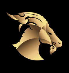 abstract goat head logo icon gold vector image