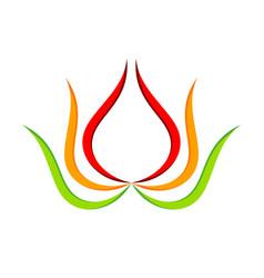 Abstract lotus flower geometric swoosh symbol vector