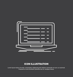 Api app coding developer laptop icon line symbol vector