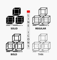 Arrange design stack 3d box icon in thin regular vector