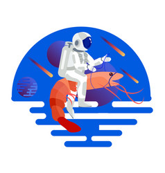 astronaut riding a shrimp in minimalist style vector image