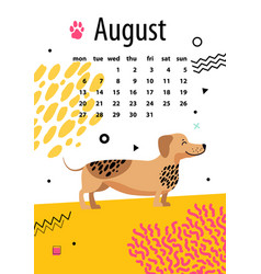August calendar for 2018 year with funny dachshund vector