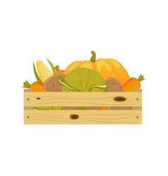 Autumn vegetables in wooden storage box vector
