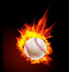 Baseball ball on fire background vector