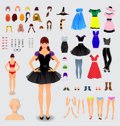 big set for creation unique female character vector image