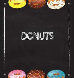 blackboard donuts frame vector image