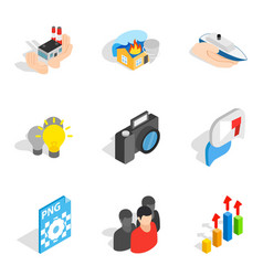 Business approach icons set isometric style vector
