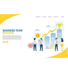 Business team success website landing page vector