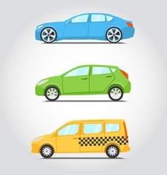 Cars icon series Flat colors style Sedan or vector