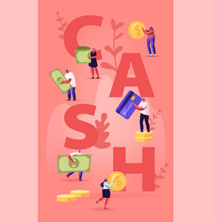 Cash concept tiny people with huge golden coins vector