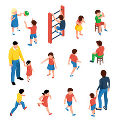 children isometric set vector image
