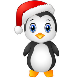 Christmas penguin with santa hat vector