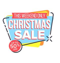 christmas sale sticker shopping half vector image