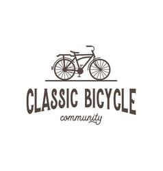 classic bicycle community vintage retro logo vector image