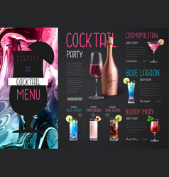 Cocktail menu design with alcohol ink texture vector