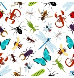Colorful insect animals seamless pattern vector