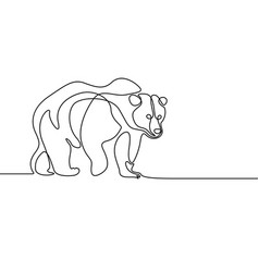 Continuous line going bear on white background vector