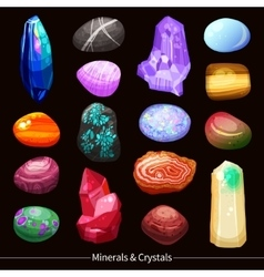 Crystals Stones And Rocks Set Background vector image