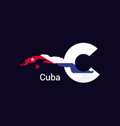 cuba initial letter country with map and flag vector image