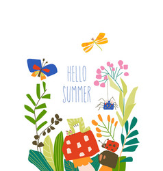 Cute cartoon insects in summer plants and flowers vector