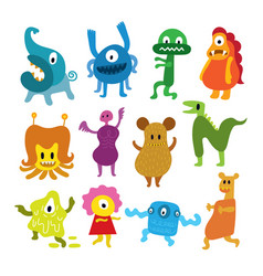 Cute monsters cartoon characters set vector