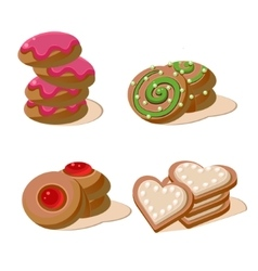 Delicious Cookies Set of Cartoon Icons vector