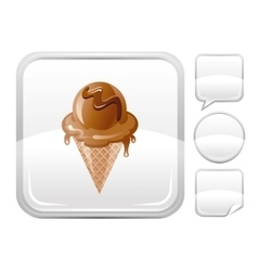 Dessert food icon with chocolate ice cream cone vector