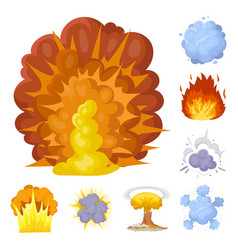 Different explosions cartoon icons in set vector