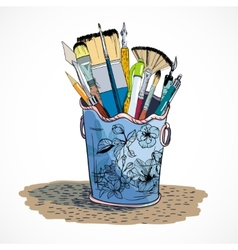 Drawing tools holder sketch vector image