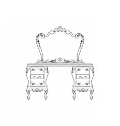 Dressing table and mirror set vector