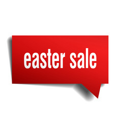 easter sale red 3d speech bubble vector image