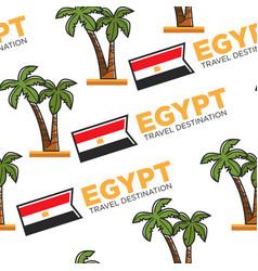 Egypt travel destination national flag and palms vector