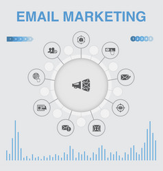 Email marketing infographic with icons contains vector