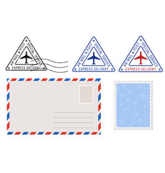 Envelope stamp and triangle postmarks postal set vector