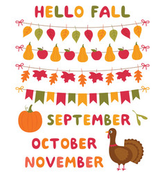 fall decoration and design elements set vector image