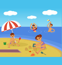 family on beach summer vacation vector image