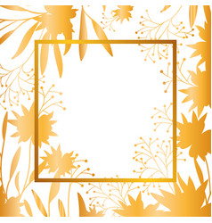 flowers with leaves with frame isolated icon vector image