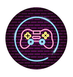 Gamepad control video game neon vector