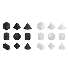 Geometric 3d shapes isometric round and pyramidal vector