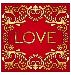 Gold lettering word love vector