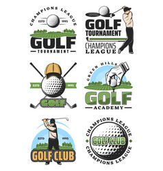 golf sport club retro icons ball and golfer vector image