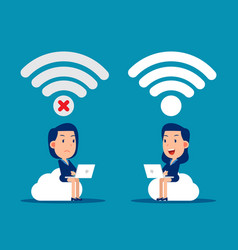 Good and bad connection wireless technology vector