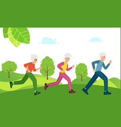 grandmother and grandfather run in park older vector image